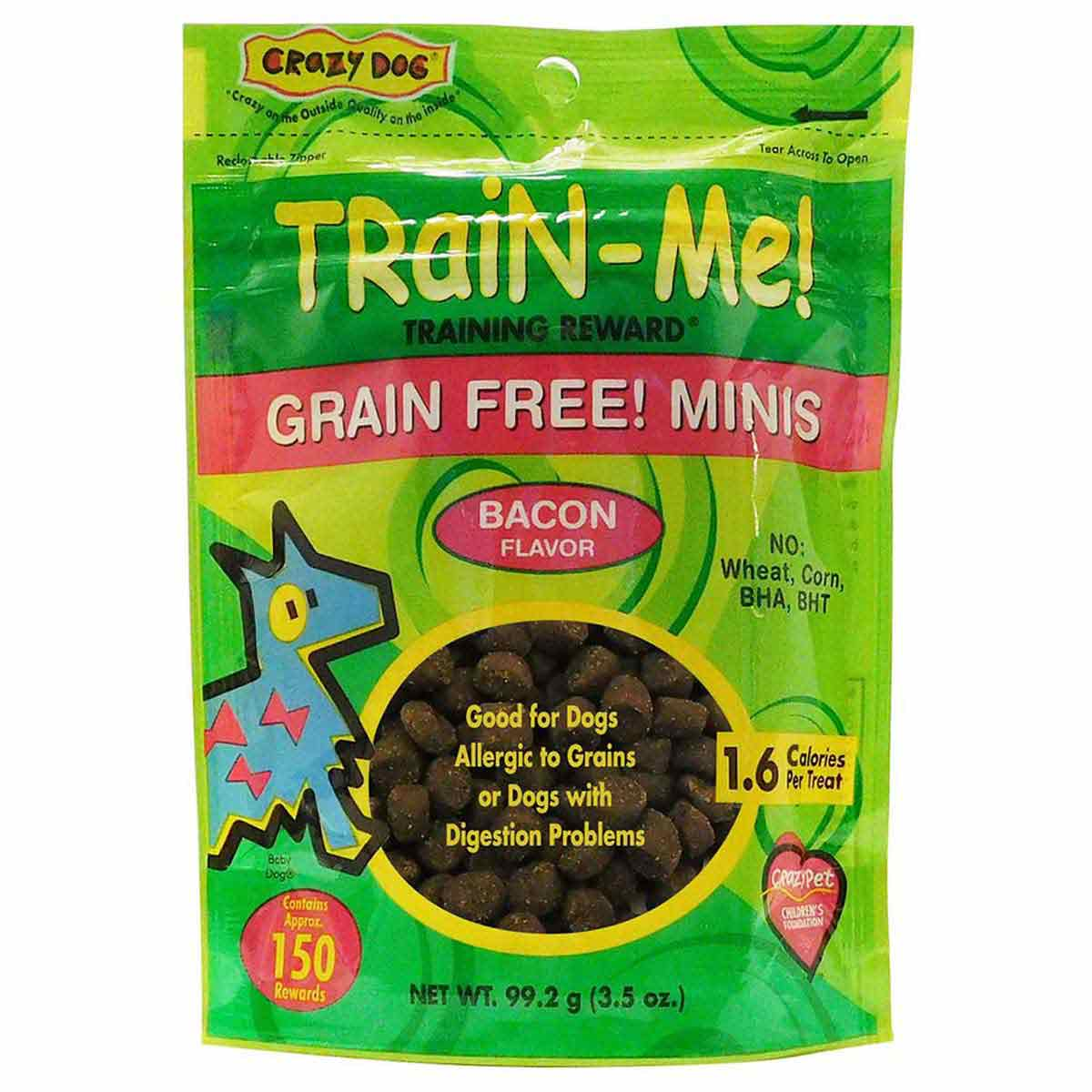 Crazy Dog Train Me! Treat Grain-Free Mini Bacon 3.5 ounce