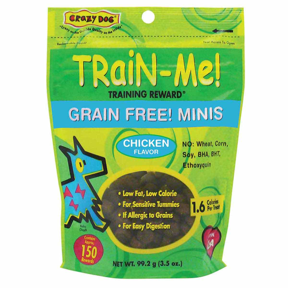 Crazy Dog Train Me! Treat Grain-Free Mini Chicken 3.5 oz Training Treats for Dogs