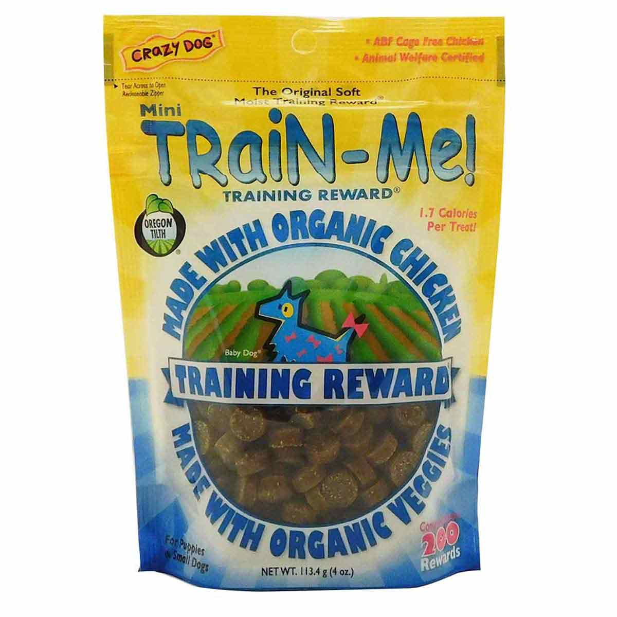 Crazy Dog Organic Mini Train-Me! Treats for Puppies & Small Dogs - Chicken - 4 ounces