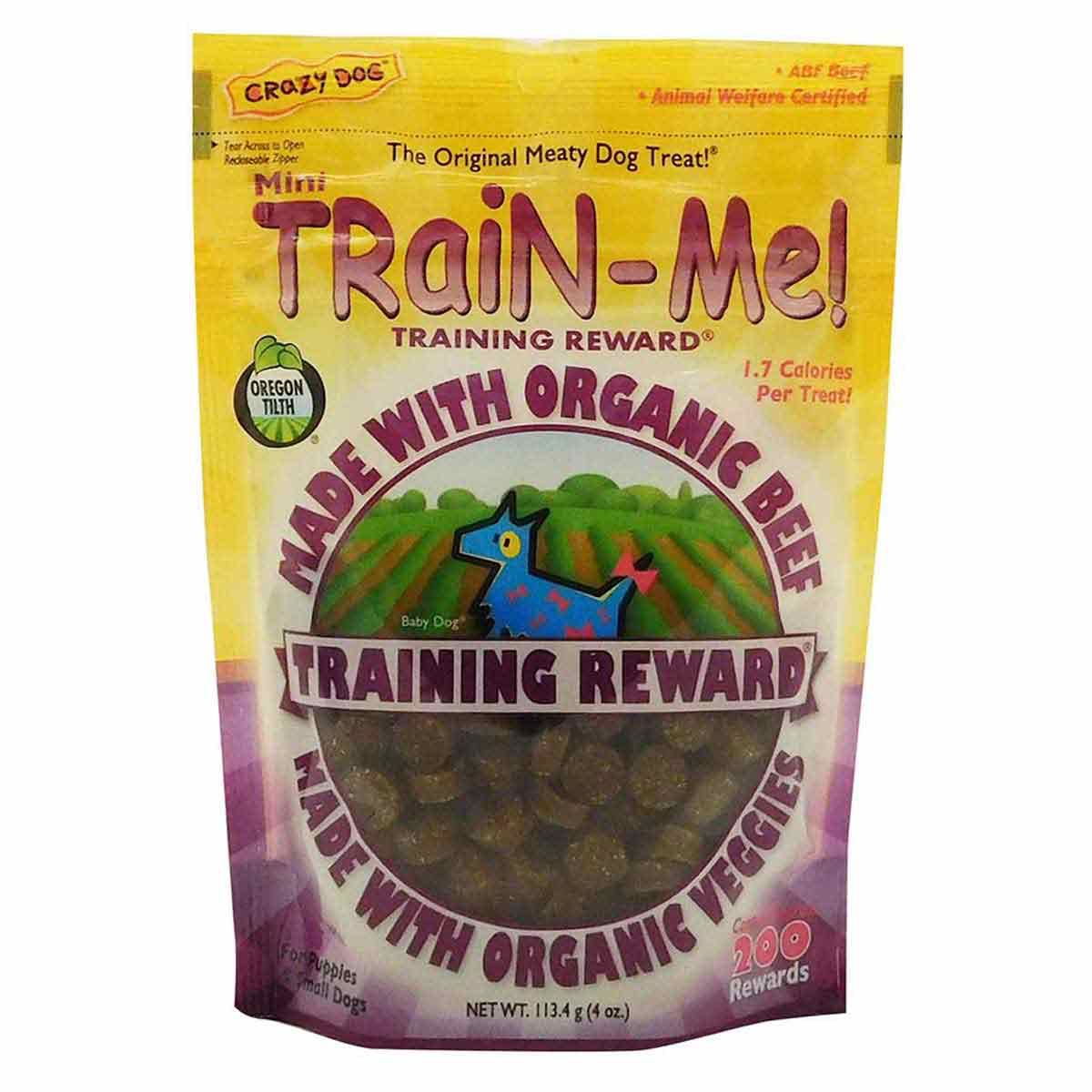 Crazy Dog Organic Mini Train-Me! Treats for Puppies & Small Dogs - Beef 4 ounces