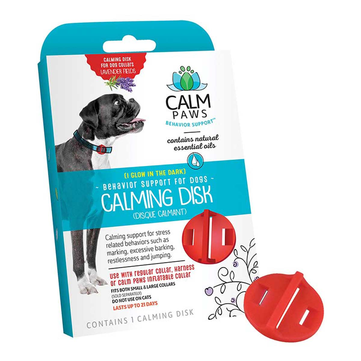 Front of Box for Calm Paws Calming Disk for Dogs
