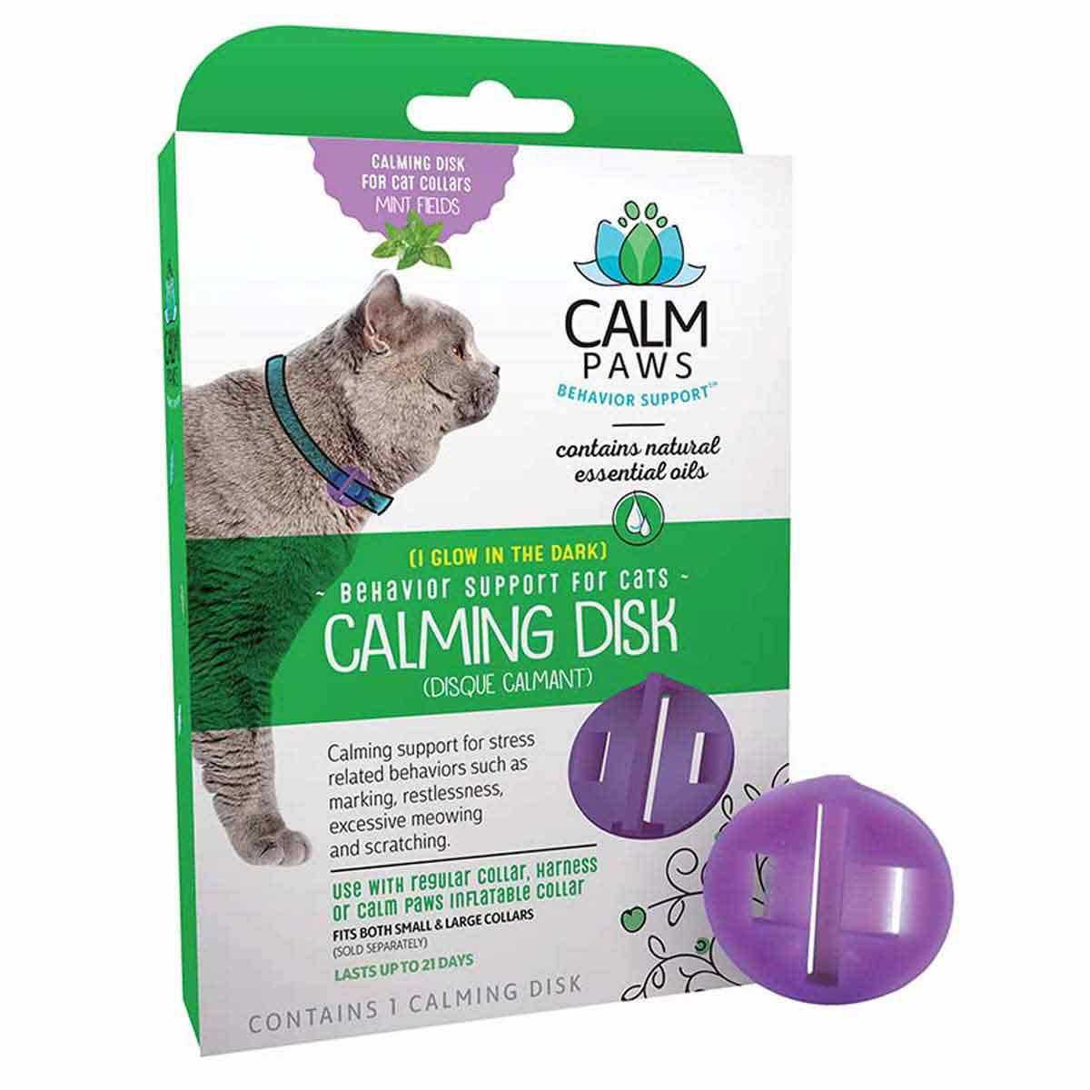 Calm Paws Calming Disk for Cats outside of Box