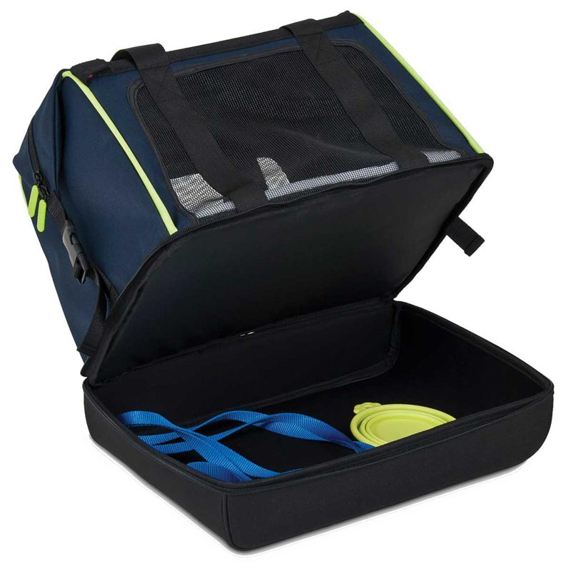 Petmate See & Stow Carrier - Under Zipped to Show Stow Compartment