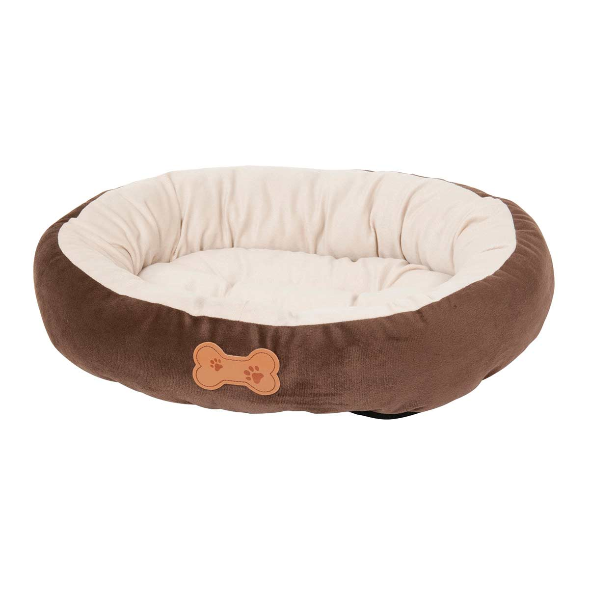 Brown and Cream Aspen Pet Oval Bed with Bone