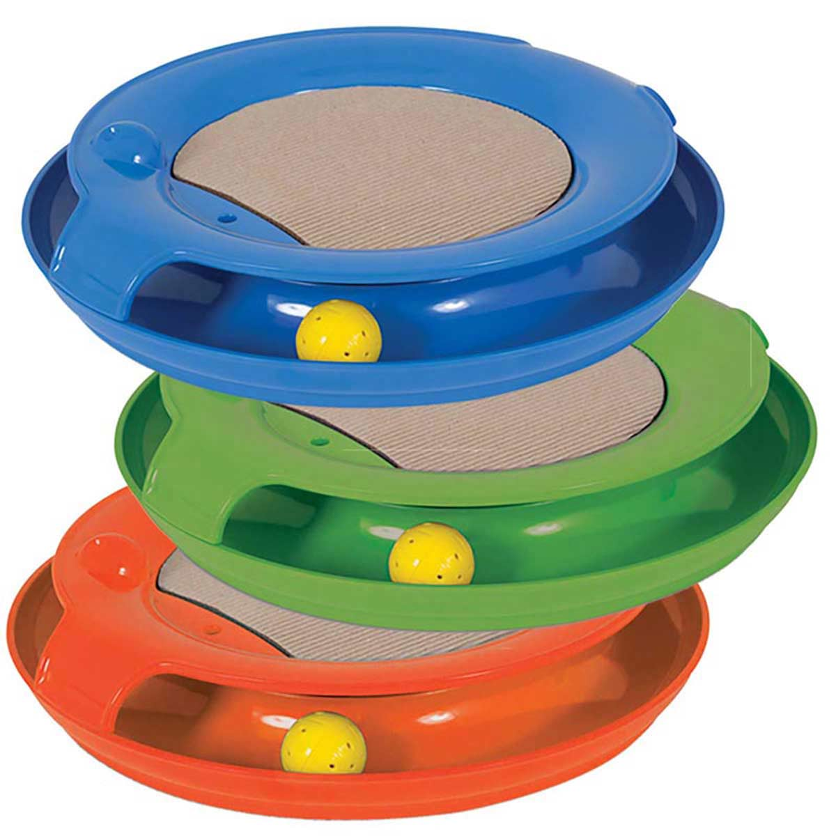 Jackson Galaxy Spiral Cat Toy - Assorted Colors - Blue, Green, and Orange