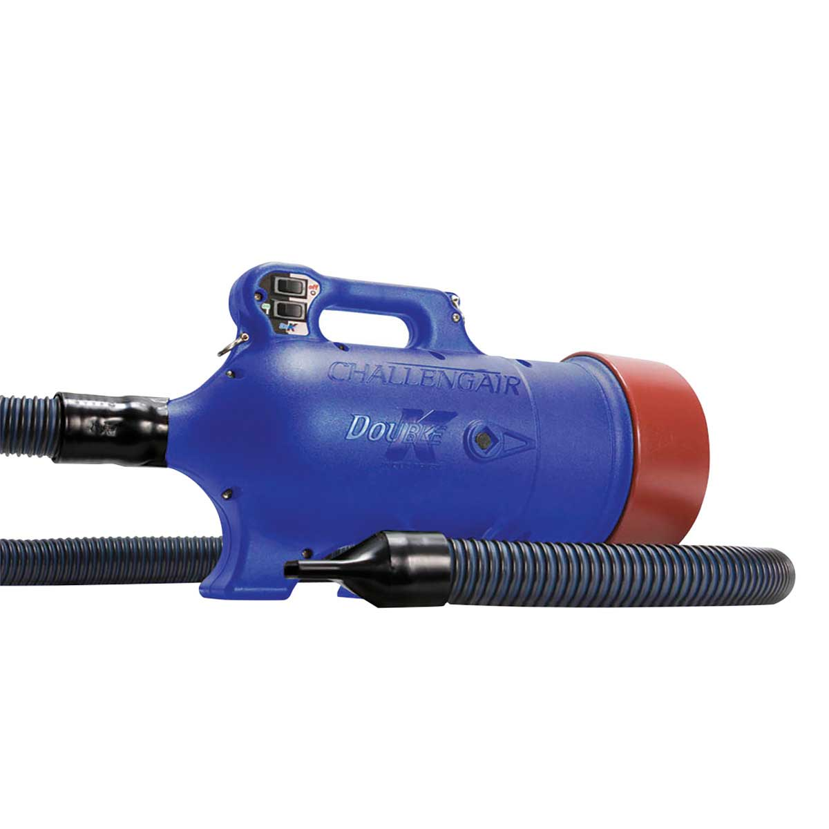 Left Side of Double K Challengair Extreme Dryer 2 Speed - Blue with Hose