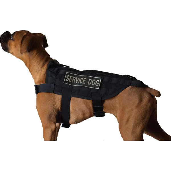 Side of Medium Black Sgt Stubby Tactical Dog Vest