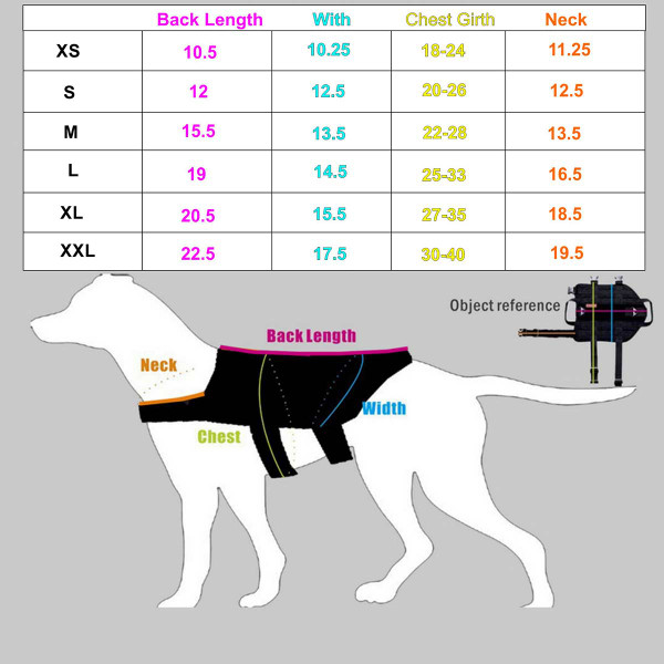 Size chart for XL Black Sgt Stubby Tactical Dog Vest