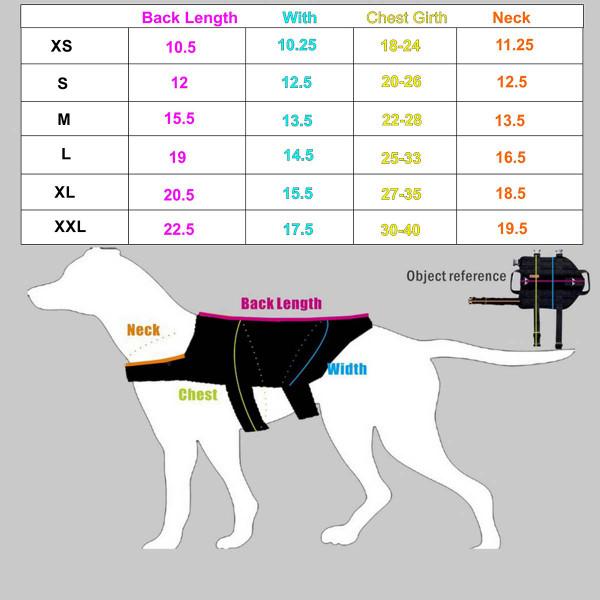 Dog Size Chart for XXXL Black Sgt Stubby Tactical Dog Vest