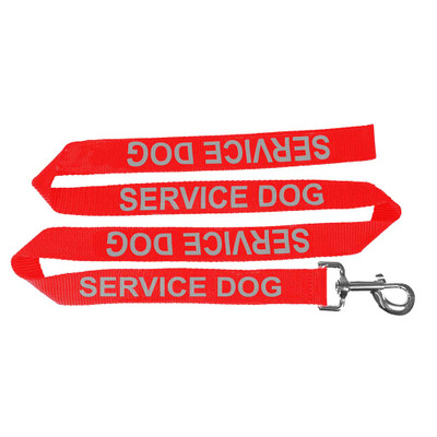 Red 4 foot Reflective Service Dog Leash 5/8 inch