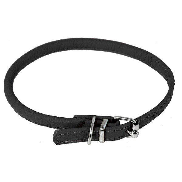Black Small Dogline Round Leather Collar 1/4 inch