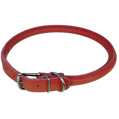 Red Medium Dogline Round Leather Dog Collar 3/8 inch