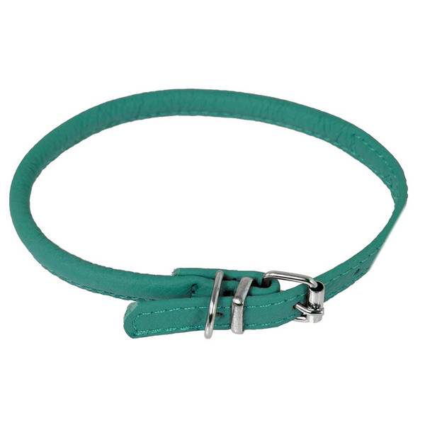Teal Medium Dogline Round Leather Dog Collar 3/8 inch