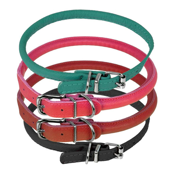 Assorted Colors of Large Dogline Round Leather Dog Collar 1/2 inch
