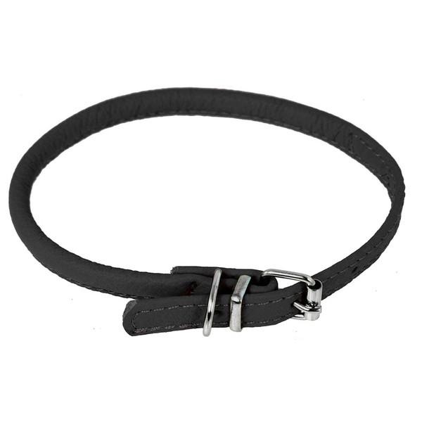 Black XL Dogline Round Leather Dog Collar 1/2 inch