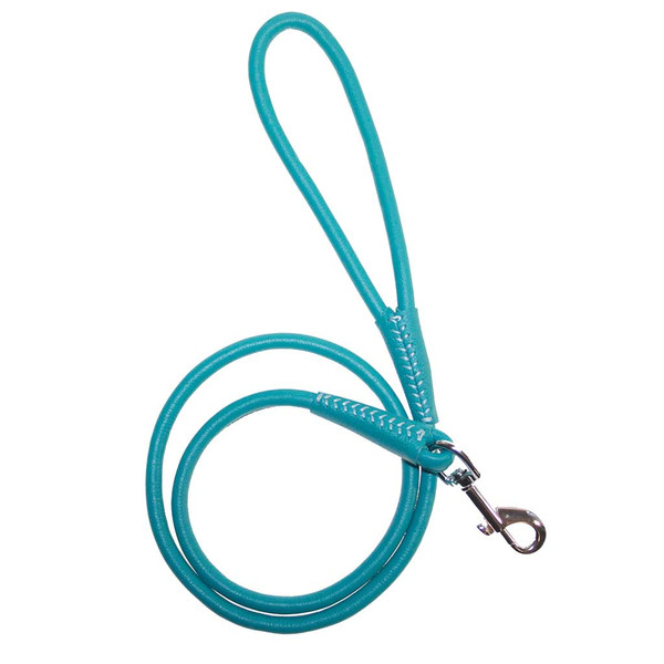 Teal 3/8 inch x 6 feet Dogline Round Leather Leash