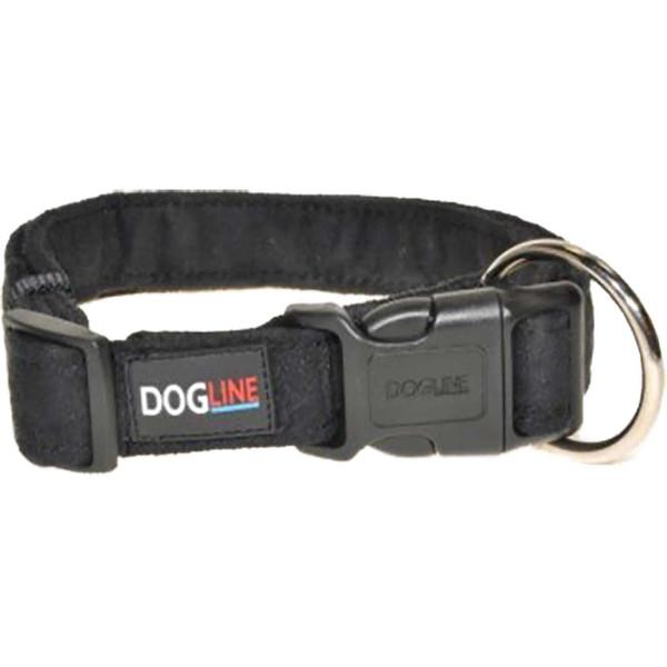 Black Large Dogline Comfort Microfiber Flat Collar 1 inch