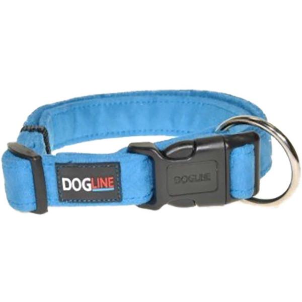 Blue Large Dogline Comfort Microfiber Flat Collar 1 inch