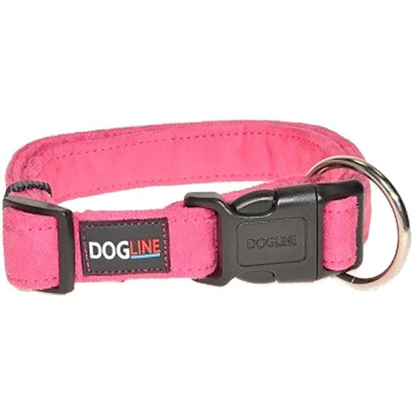 Pink Large Dogline Comfort Microfiber Flat Dog Collar 1 inch