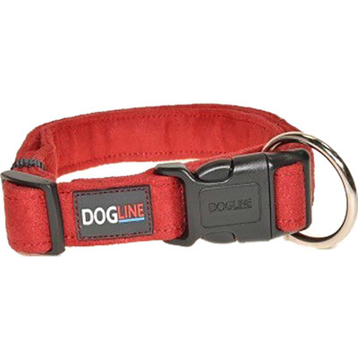 Red Large 1 inch Dogline Comfort Microfiber Flat Collar for Dogs
