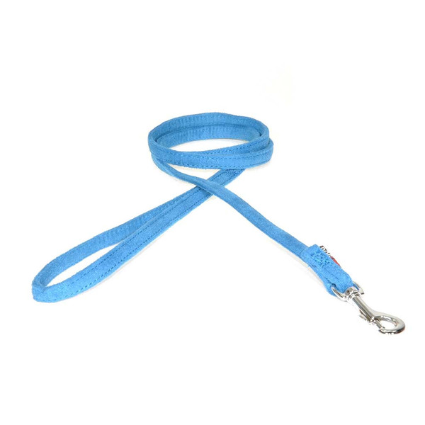 Blue Comfort Microfiber 6 foot Flat Dog Leash 3/8 inch