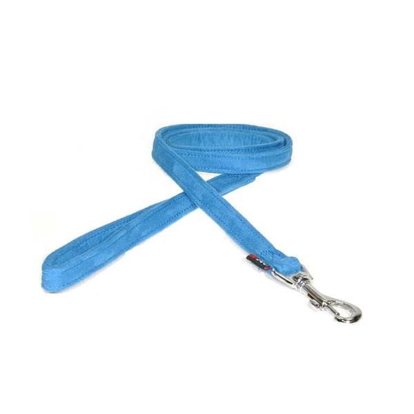 Blue 6 foot Dogline Comfort Microfiber Flat Dog Leash 1 inch
