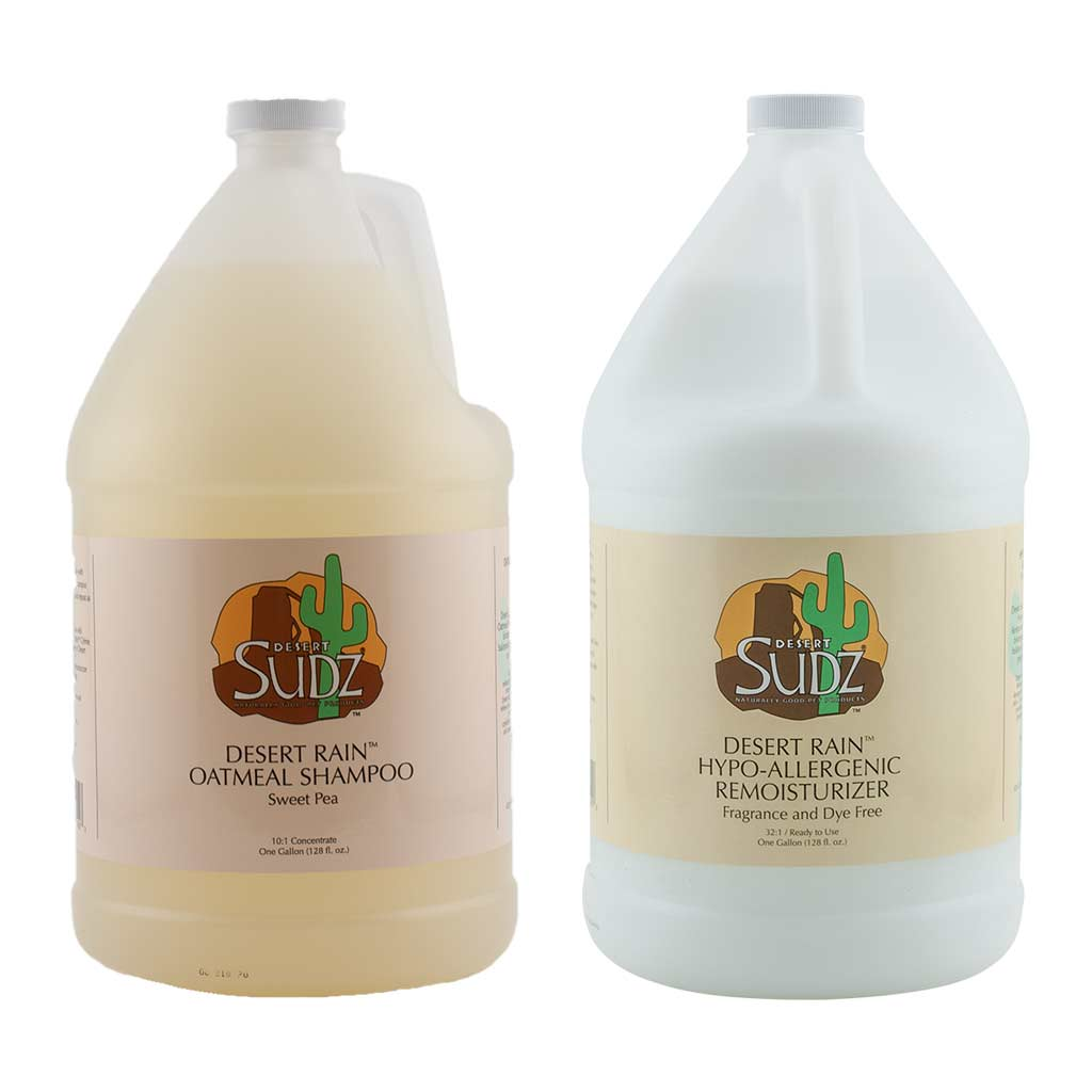 Desert Sudz Sweet Pea Oatmeal Shampoo Gallon and Desert Sudz Hypo-Allergenic Remoisturizer Conditioner for Dogs Bundle