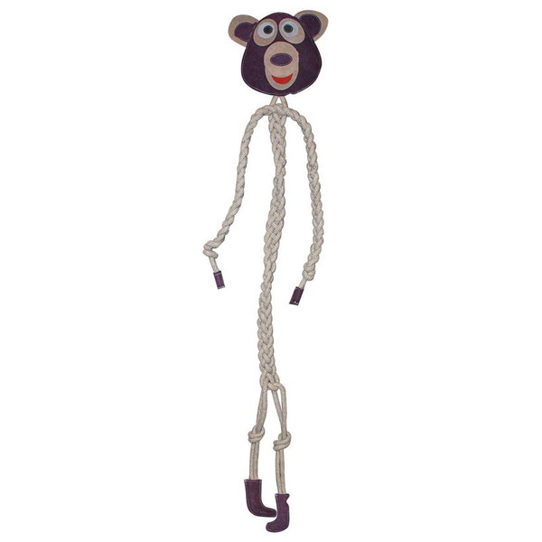 Dawgeee Toy Natural Giant Bear Natural Jute Cotton Rope With Genuine Leather 5 feet Tall