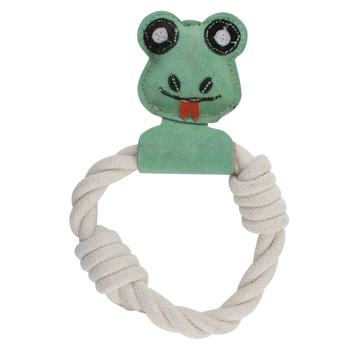 Dawgeee Toy Natural Genuine Leather Frog With Cotton Rope Ring Toy 10 inches