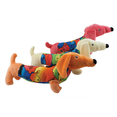 15 inch Dawgeee Dog Toy Day Glow Dachshund - Assorted Colors