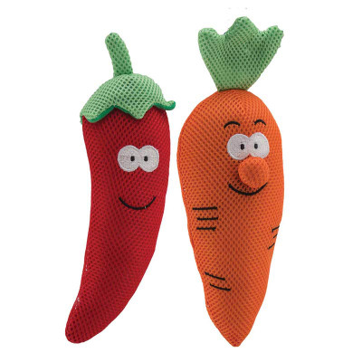 """Dawgeee Toy Plush Assorted Vegetable Heads 11"""" - Toys for Dogs"""