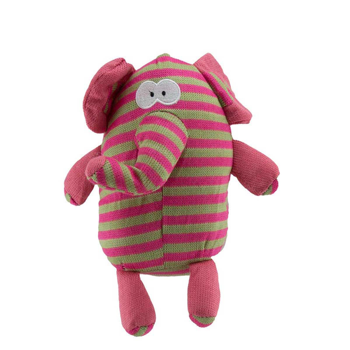 10 inch Dawgeee Toy Plush Pink and Green Striped Elephant Dog Toys