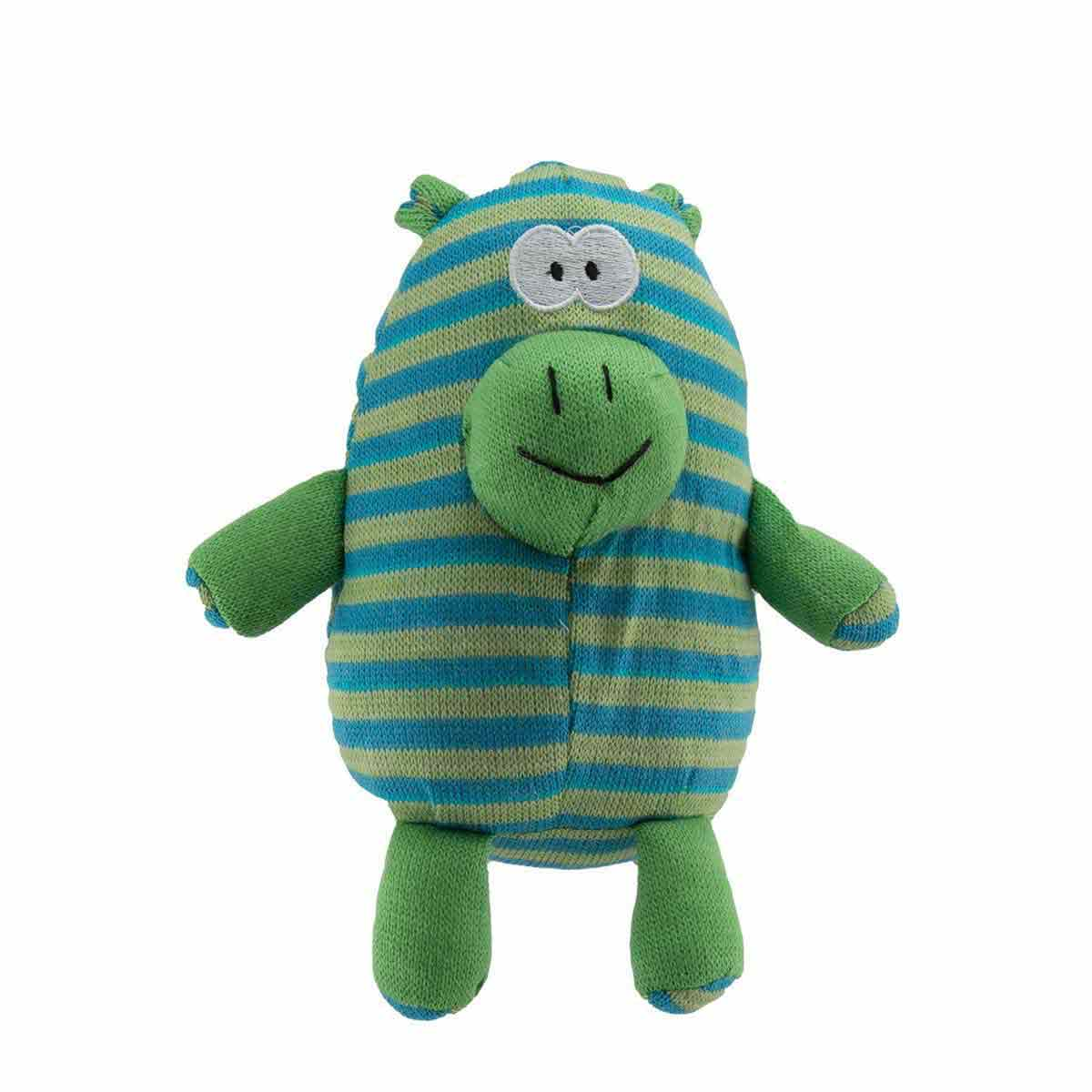 Dawgeee Toy Plush Blue and Green Striped Elephant -10 inch Toys for Dogs