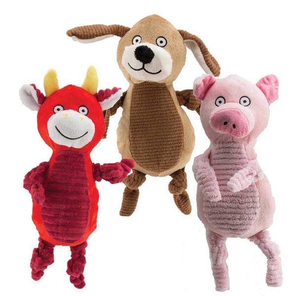 Dawgeee Toy Assorted Plush Farm Buddies Dog Toys - 13 inches