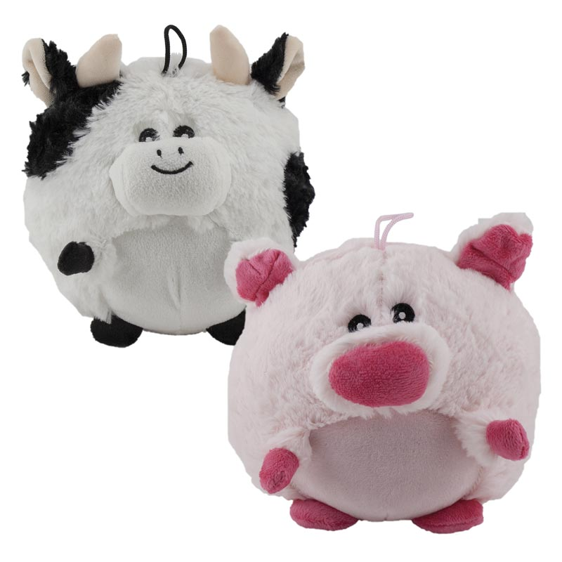 Assorted Dawgeee Toy Pig and Cow 7 inch Stuffed Dog Toys