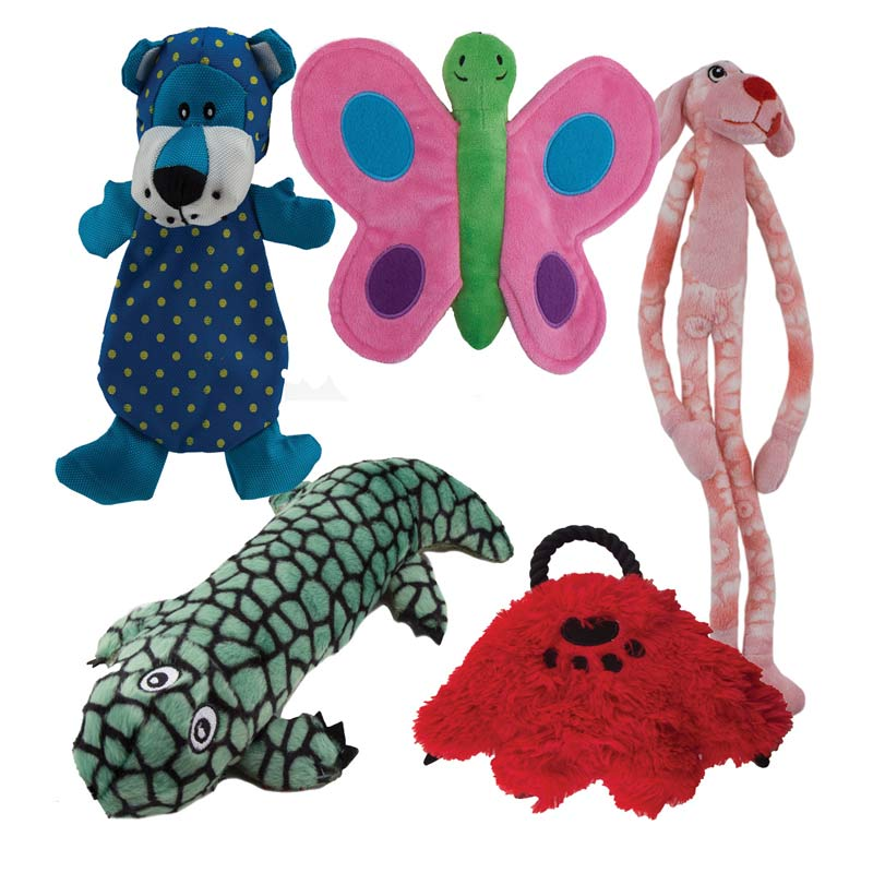 Dawgeee Toy Pack of 5 Various Stuffed Squeak Dog Toys