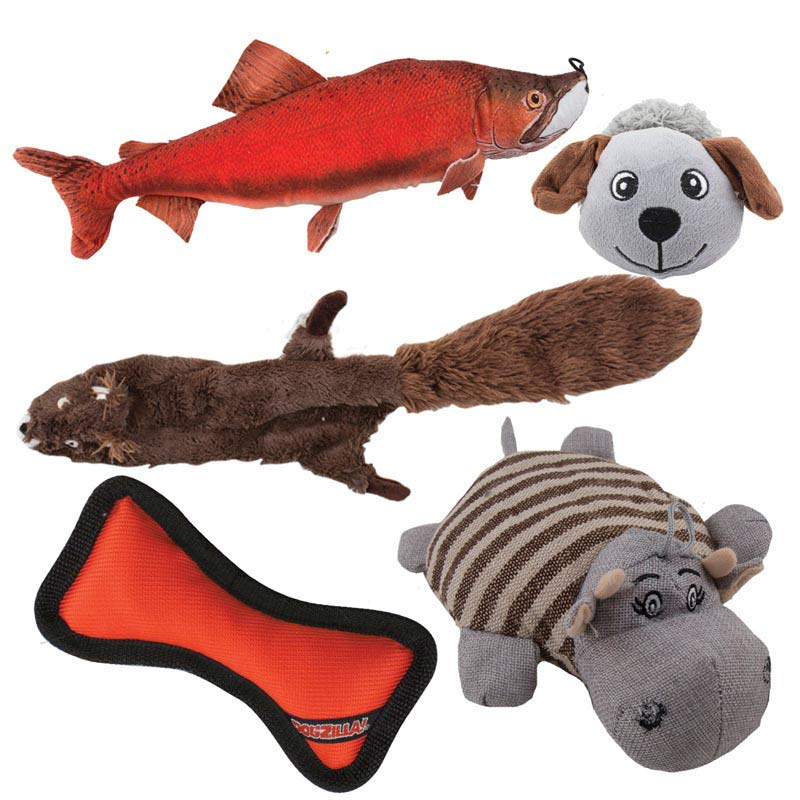 Dawgeee Toy Pack of 5 Squeak Toys for Dogs - Fish, Bone, Elephant, Dog and Beaver
