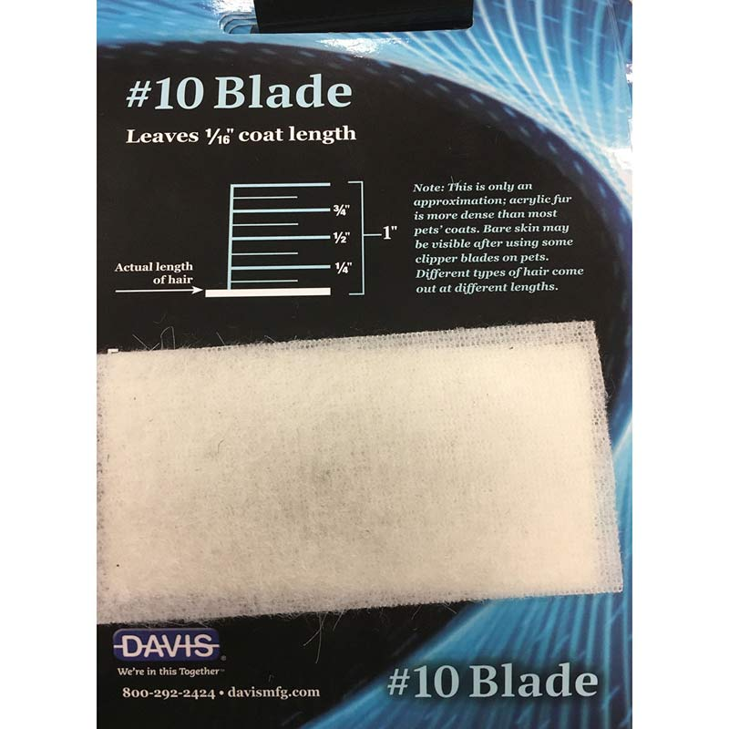 Davis Clip Chart - #10 Blade Leaves 1/16 inch coat lenth