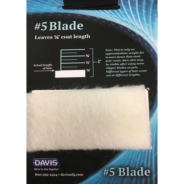 Davis Clip Chart - #5 Blade leaves 1/4 inch coat length