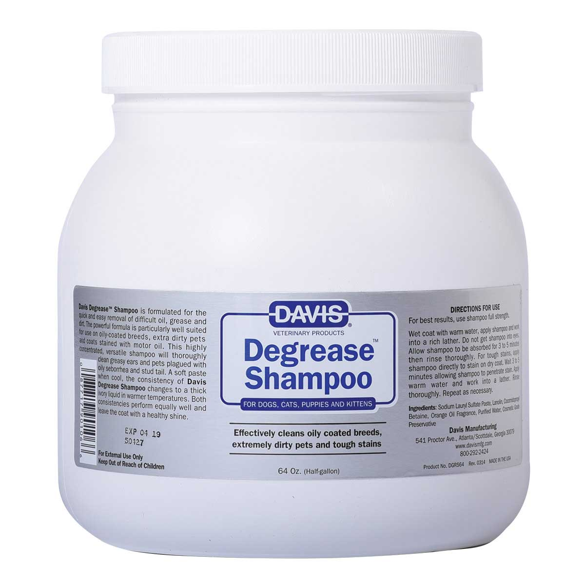 Davis Degrease Shampoo 64 oz Ready to Use for Cats and Dogs