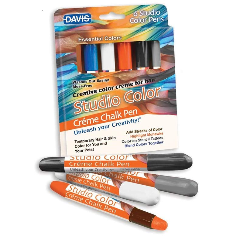Davis Studio Color Creme Chalk Pens Essentials - Brown, Orange, White, Black, Navy, Gray