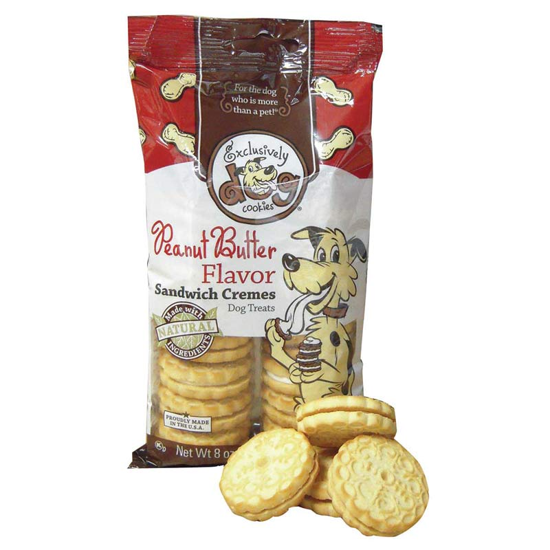Exclusively Dog Sandwich Cremes Peanut Butter 8 ounces - Dog Treats