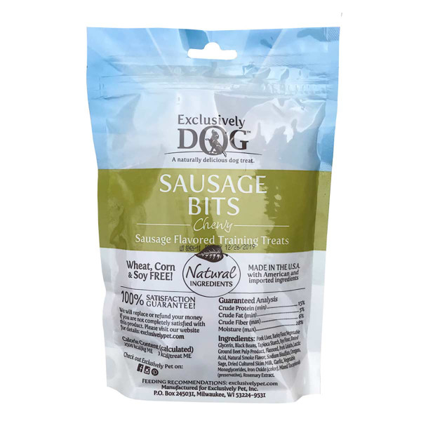 Back of Exclusively Dog Sausage Bits Meat Treats for Dogs 7 oz