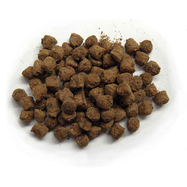 Close up of Exclusively Dog Sausage Bits Meat Treats for Dogs 7 oz