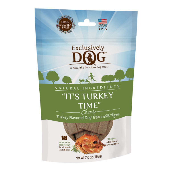 Exclusively Dog Its Turkey Time Grain-Free Meat Treats 7 oz