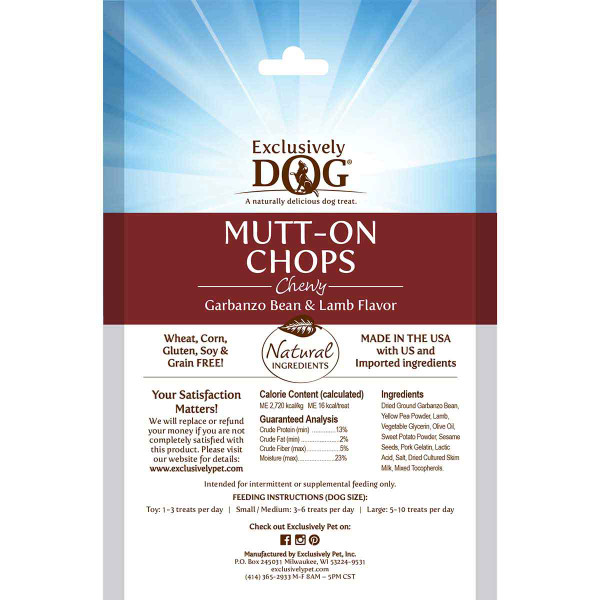 Back of packaging for Exclusively Dog Mutt-On Chops Grain-Free Meat Treats for Dogs 7 oz