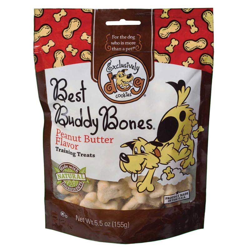 Exclusively Dog Best Buddy Bones - Peanut Butter Flavor Training Treats - 5.5 ounces