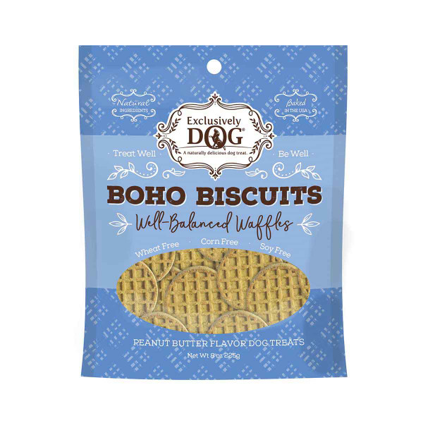 Exclusively Dog Boho Biscuts Well-Balanced Waffles Peanut Butter Dog Treats 8 oz
