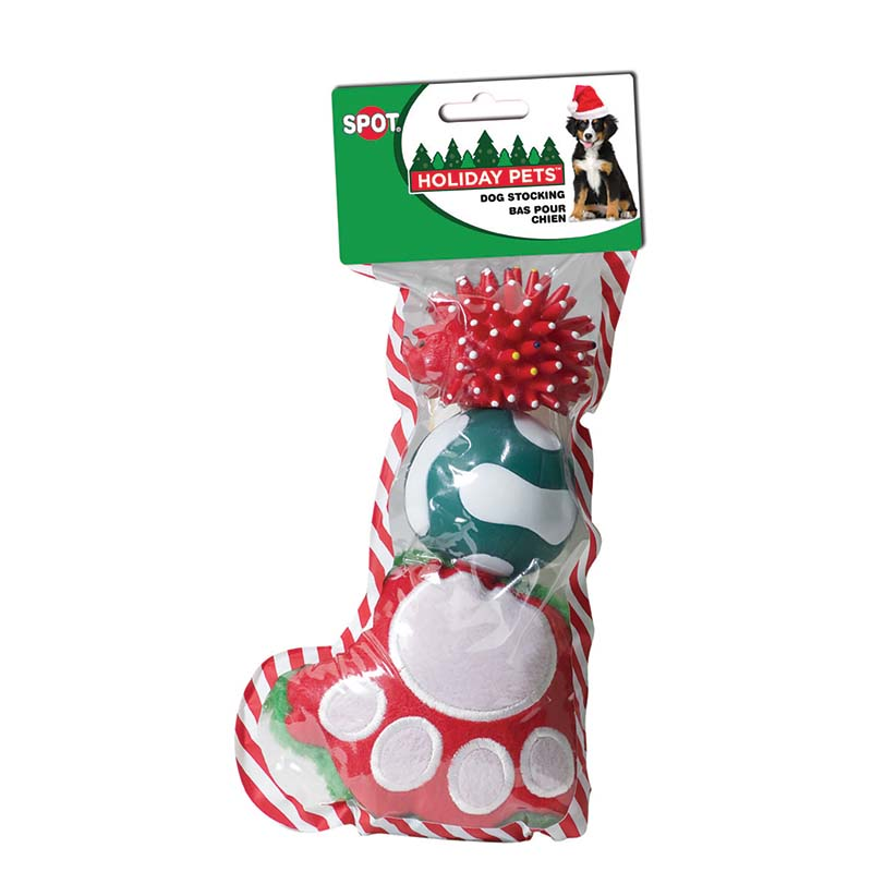 Small Holiday Dog Toy Stocking 3 pcs