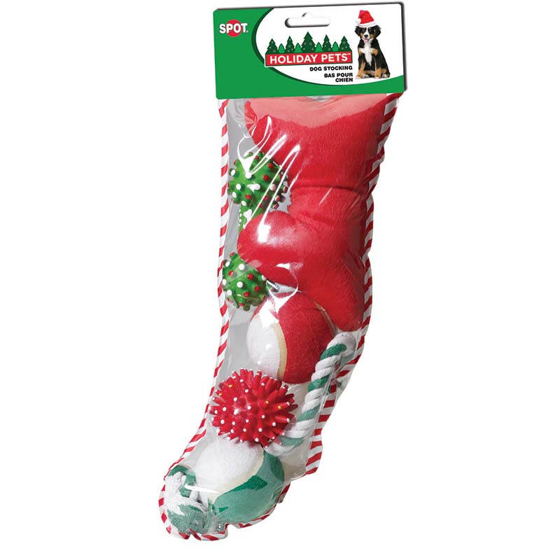Large Holiday Dog Toy Stocking 5 pcs at Ryan's Pet Supplies